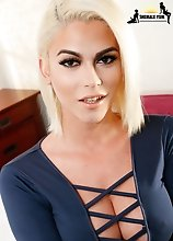 Stunning Grooby girl and tgirl superstar Domino Presley is back for a smoking hot hardcore scene! Watch this gorgeous transgirl sucking cock and getti