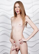 Slim redhead tgirl Crystal Thayer is back for some solo fun! Watch gorgeous Crystal stripping, showing off her sexy ass and stroking her cock!