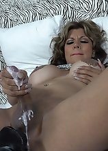 Busty TS NAOMI CHI stroking with a HUGE BLACK Dildo in her ass