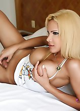 TransGirl Milla Viasotti strokes her big shemale cock after waking up from an erotic dream