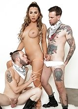Busty TS superstar Chanel Santini in hardcore threesome. The guys drill her together in a double anal penetration!