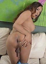 Jessica's Cock Gets Stroked and Jacked up on a White Couch