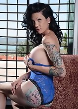 Sexy Morgan posing in blue lace