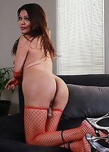Seductive Carmen posing in fishnets