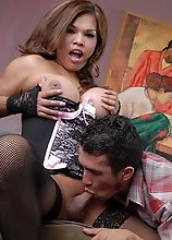 Amazing Carmen Moore sucking on a huge cock