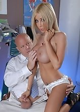 Busty nurse Kimber getting banged by the doctor