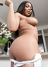 Busty black tgirl Peachez can't wait to strip down and play with her huge cock and her big booty! Watch her stroking it in this hot solo scene!