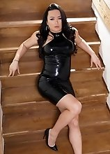 Bianka looking sexy in latex and shoes is super horny today she wants to suck your dick now