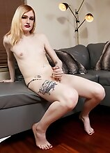 Watch Coco Dahlia fucking her tight sweet ass with her dildo and stroking her cock at the same time until she cums hard just for you!