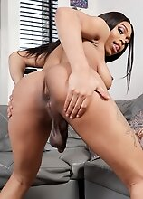 Busty ebony tgirl Peachez can't wait to get naughty and play with her cock! Watch her posing, enjoying herself and stroking her cock until she cu