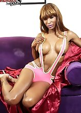 Superstar Natassia Dreams has a stunning body, big tits and a delicious cock! See this hot black tgirl toying and jacking her hard cock!