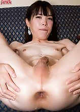 Slender young Japanese tgirl Yui Kawai sucking cock and getting her tight asshole fucked hard!