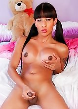 Destiny Haynes is a gorgeous tgirl with a smoking hot body, big boobs, a juicy ass and a big hard uncut cock! Watch this horny transgirl stroking her